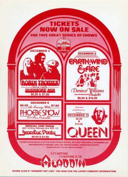 Flyer/ad - Queen in Las Vegas on 15.12.1977