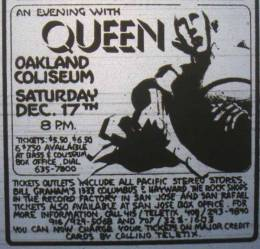 Flyer/ad - Queen in Oakland on 17.12.1977