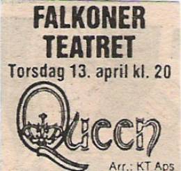 Flyer/ad - Queen in Copenhagen on 13.04.1978