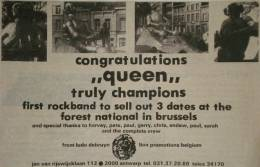 Flyer/ad - Queen in Brussels in April 1978