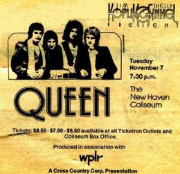Flyer/ad - Queen in New Haven on 07.11.1978