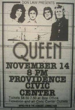 Flyer/ad - Queen in Providence on 14.11.1978