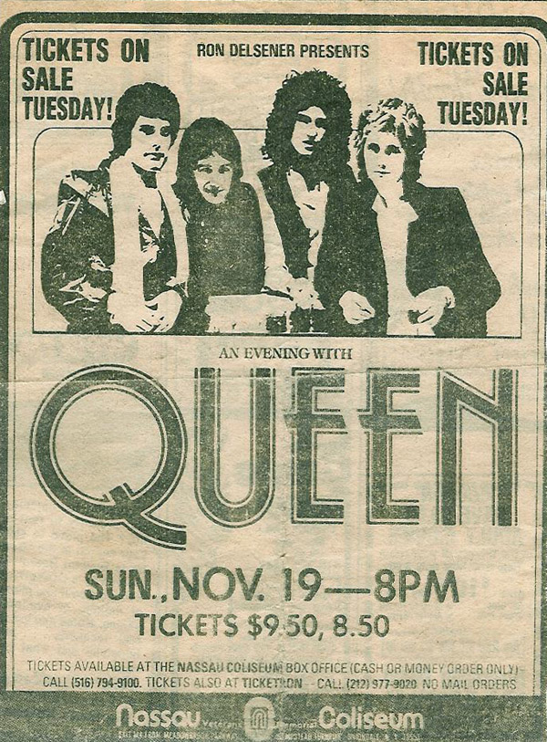 Queen in Uniondale on 19.11.1978 (ad prior to tickets going on sale)