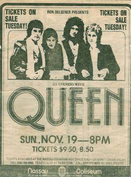 Flyer/ad - Queen in Uniondale on 19.11.1978 (ad prior to tickets going on sale)