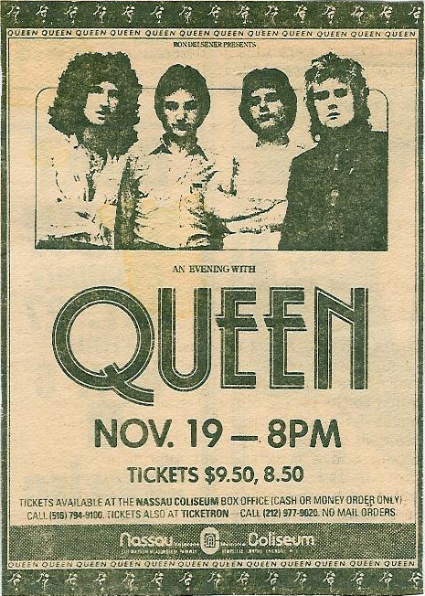 Queen in Uniondale on 19.11.1978 (ad post tickets going on sale)