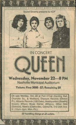Flyer/ad - Queen in Nashville on 22.11.1978