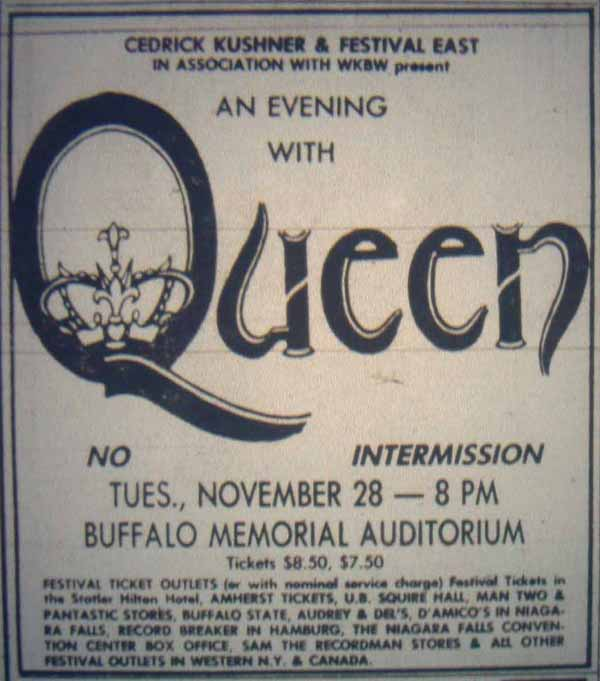 Queen in Buffalo on 28.11.1978