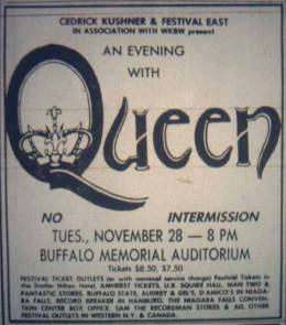 Flyer/ad - Queen in Buffalo on 28.11.1978