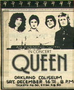 Flyer/ad - Queen in Oakland on 16.12.1978