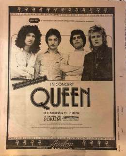 Flyer/ad - Queen in Los Angeles on 18.12.1978