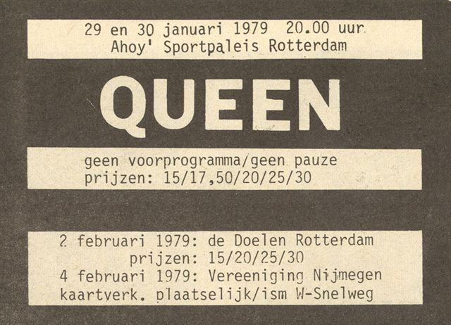 Queen in Rotterdam on 29.-30.01.1979