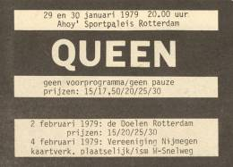 Flyer/ad - Queen in Rotterdam on 29.-30.01.1979