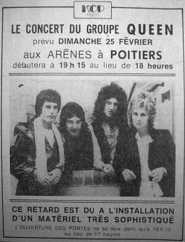 Flyer/ad - Queen in Poitiers on 25.02.1979