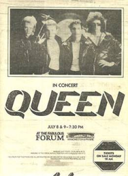 Flyer/ad - Queen in Los Angeles on 8. - 9.7.1980