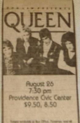 Flyer/ad - Queen in Providence on 26.8.1980