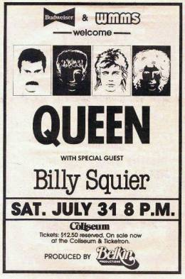 Flyer/ad - Queen in Richfield on 31.7.1982