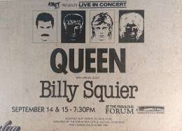 Flyer/ad - Queen in Los Angeles on 14.-15.09.1982