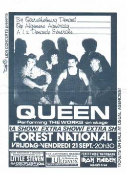 Flyer/ad - Queen in Brussels on 21.9.1984