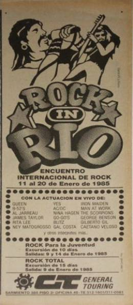Flyer/ad - Queen at Rock In Rio in January 1985