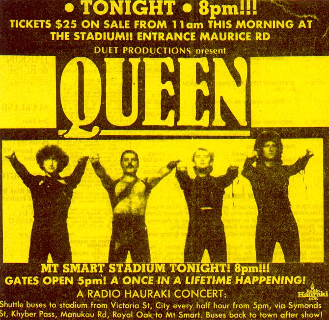 Queen in Auckland on 13.4.1985