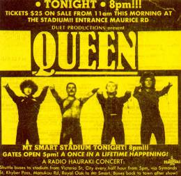 Flyer/ad - Queen in Auckland on 13.4.1985