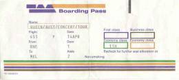 Flyer/ad - Peter Hince's boarding pass from Australia