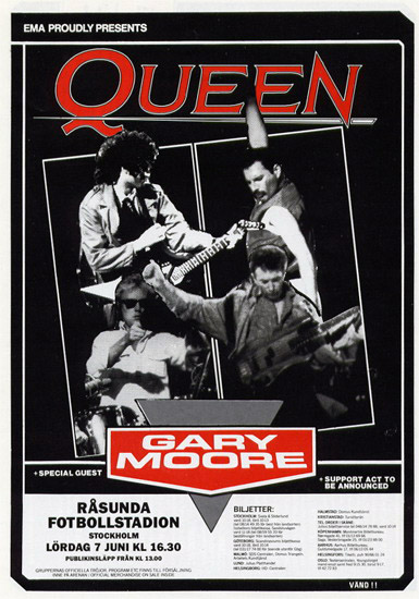 Queen in Stockholm on 7.6.1986 (flyer)