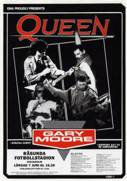 Flyer/ad - Queen in Stockholm on 7.6.1986 (flyer)