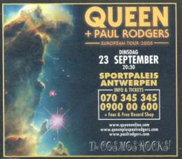 Flyer/ad - Queen + Paul Rodgers in Antwerp on 23.9.2008