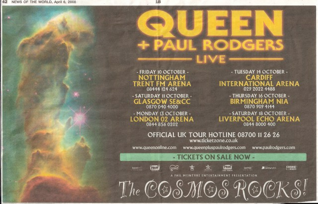 Queen + Paul Rodgers in the UK in October 2008