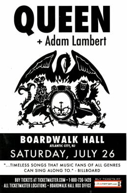 Flyer/ad - Queen + Adam Lambert in Atlantic City on 26.07.2014