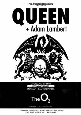 Flyer/ad - Queen + Adam Lambert in London on 18.01.2015