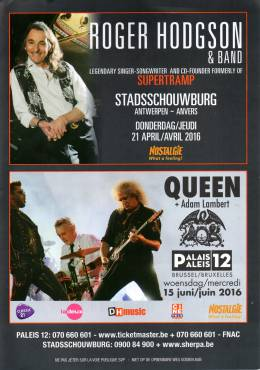 Flyer/ad - Queen + Adam Lambert in Brussels on 15.06.2016