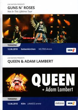 Flyer/ad - Queen + Adam Lambert in Cologne on 13.06.2018