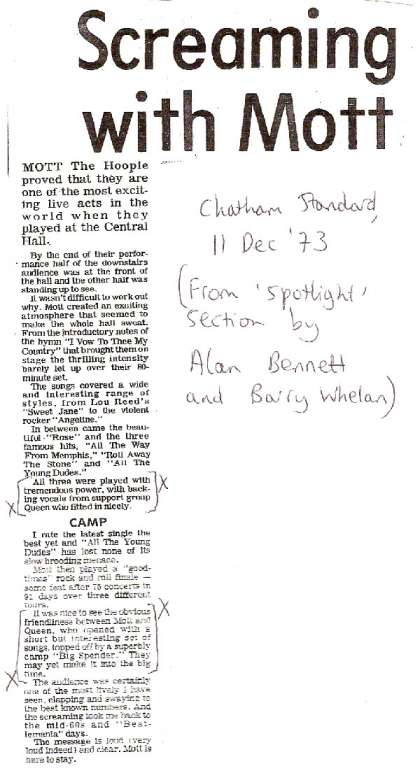 Newspaper review: Queen live at the Central, Chatham, UK [02.12.1973]