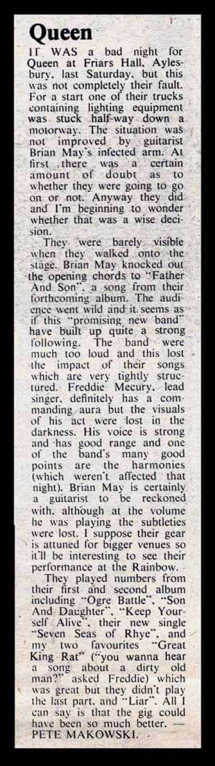 Newspaper review: Queen live at the Friars, Aylesbury, UK [02.03.1974]