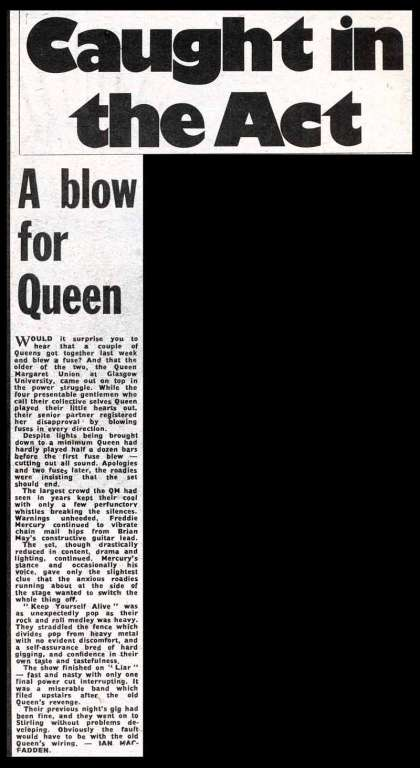 Newspaper review: Queen live at the Queen Margaret Union, University of Glasgow, Glasgow, UK [15.03.1974]