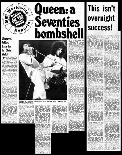 Newspaper review: Queen live at the Empire Theatre, Liverpool, UK [01.11.1974]