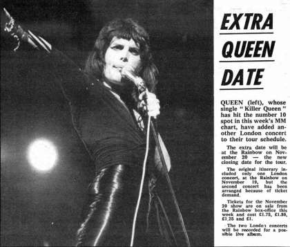 Newspaper review: Queen live at the Rainbow Theatre, London, UK [20.11.1974]