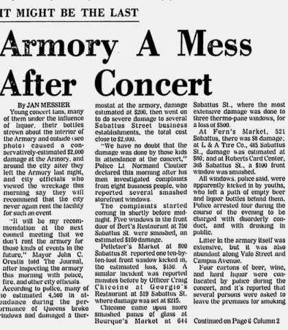 Newspaper review: Queen live at the Armory, Lewiston, ME, USA [19.02.1975]