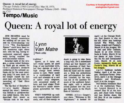 Newspaper review: Queen live at the Aragon Ballroom, Chicago, IL, USA [08.03.1975]