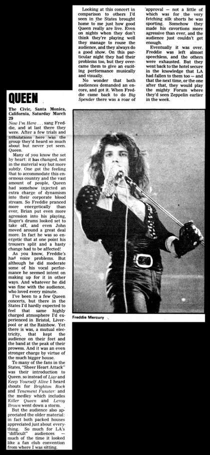 Newspaper review: Queen live at the Santa Monica Civic Auditorium, Santa Monica, CA, USA (2nd gig) [29.03.1975 (2nd gig)]