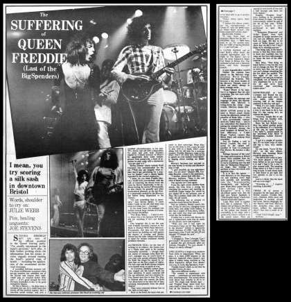 Newspaper review: Queen live at the Colston Hall, Bristol, UK [17.11.1975]