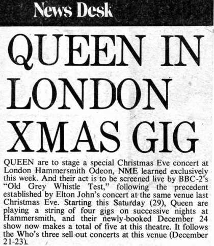 Newspaper review: Queen live at the Hammersmith Odeon, London, UK [24.12.1975]