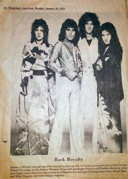 Newspaper review: Queen live at the Palace Theatre, Waterbury, CT, USA [27.01.1976]