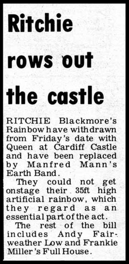 Newspaper review: Queen live at the Castle, Cardiff, UK [10.09.1976]