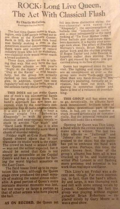 Newspaper review: Queen live at the Cole Field House, University of Maryland, College Park, MD, USA [04.02.1977]