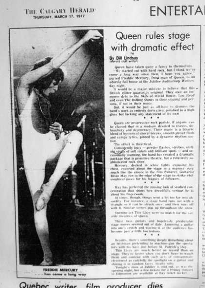 Newspaper review: Queen live at the Jubilee Auditorium, Calgary, Canada [16.03.1977]