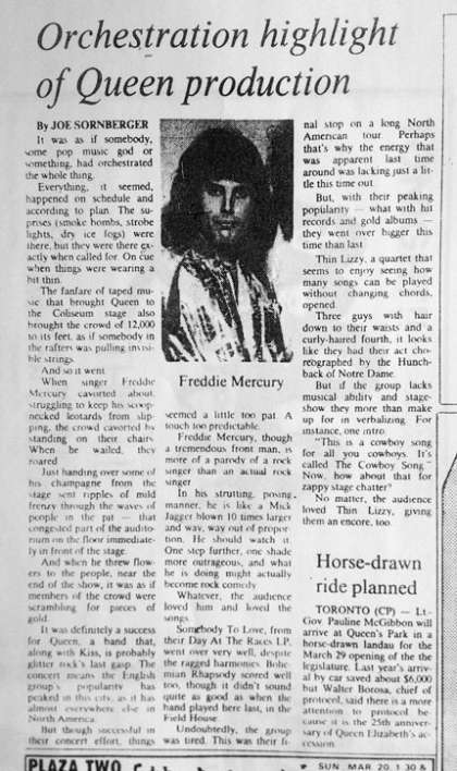 Newspaper review: Queen live at the Northlands Arena, Edmonton, Canada [18.03.1977]