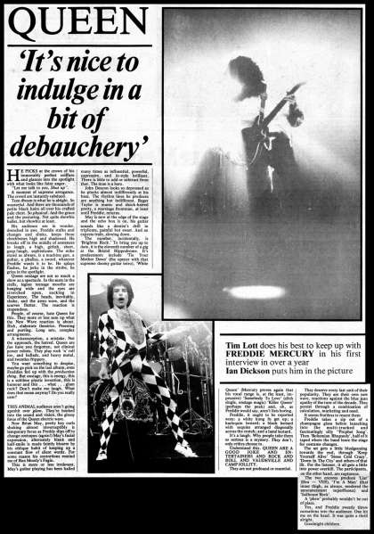 Newspaper review: Queen live at the Hippodrome, Bristol, UK [23.05.1977]